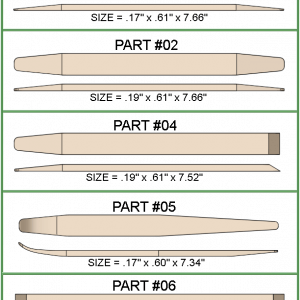 Five different windshield stick models with chisel, tapered, and curved ends.